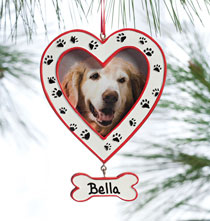 Holiday Ornaments - Personalized Paw Print Frame Ornament
