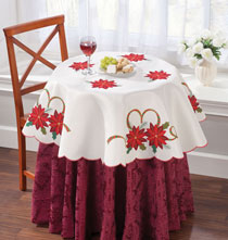 Holiday Décor - Poinsettia Embroidered Tablecloth