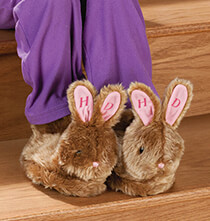 Easter - Personalized Brown Plush Bunny Slippers