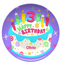 New - Personalized Happy 3rd Birthday Plate