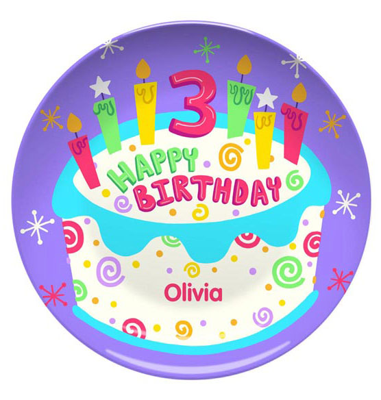 Personalized Happy 3rd Birthday Plate