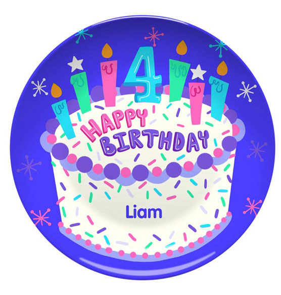 Personalized Happy 4th Birthday Plate