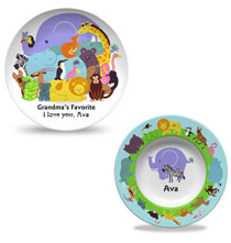 Gifts for Kids - Personalized Trip to the Zoo Plate & Bowl Set
