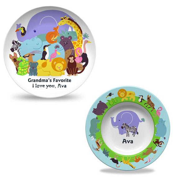 Personalized Trip to the Zoo Plate & Bowl Set