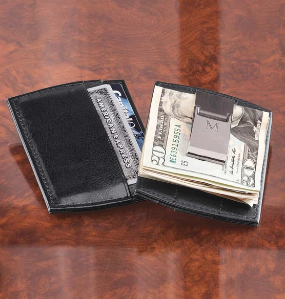 Monogrammed Black Money Clip Wallet - View 1