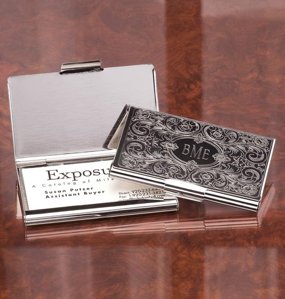 Monogrammed Embossed Business Card Case - View 1