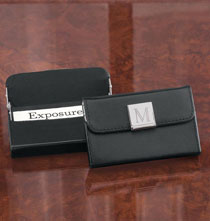 Desktop & Office - Monogrammed Black Business Card Case