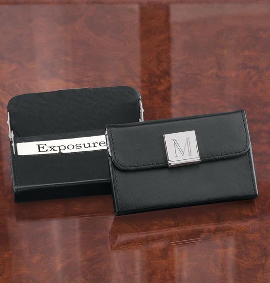 Monogrammed Black Business Card Case - View 1