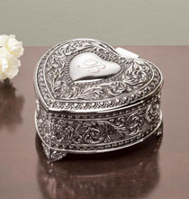 Remembrance Gifts - Personalized Antique Heart Keepsake Box