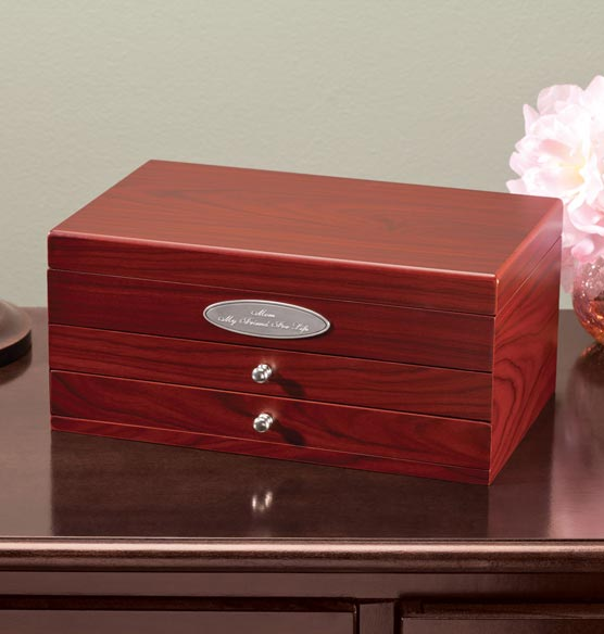 Personalized Mahogany 2-Drawer Jewelry Box