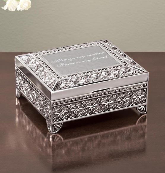 Personalized Antique Rectangular Keepsake Box - View 1