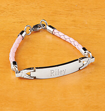 Personalized Pink Childrens ID Bracelet