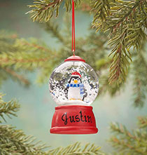 Holiday Ornaments - Personalized Penguin Waterglobe Ornament