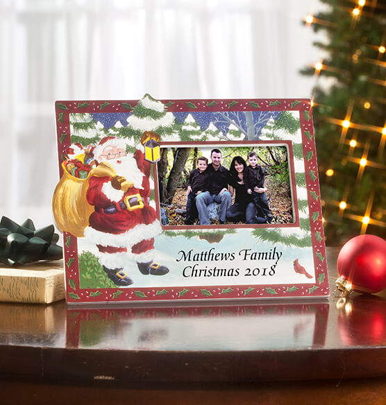 Santa's Surprise Horizontal Christmas Photo Frame