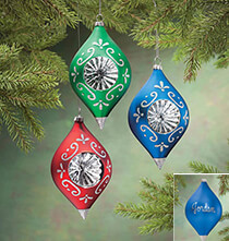 Holiday Ornaments - Personalized Birthstone Glass Reflector Ornament