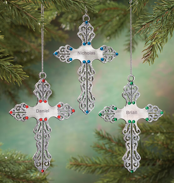 Personalized Birthstone Cross Pewter Ornament - View 1