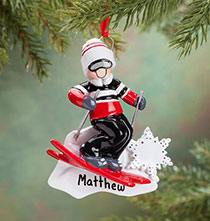 Holiday Ornaments - Personalized Skier Ornament