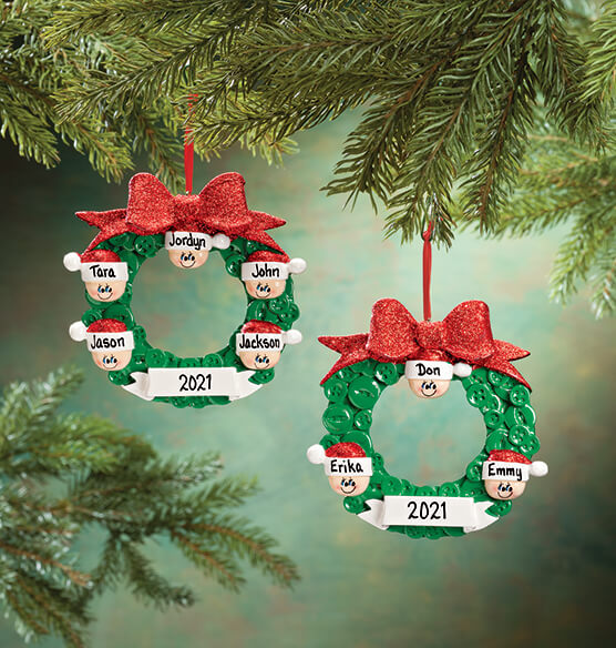 Personalized Wreath Family Ornament - View 1