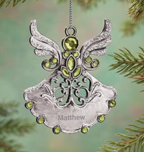 Holiday Ornaments - Personalized Birthstone Angel Pewter Ornament
