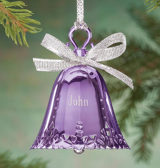 Bell And Bow Engraved Birthstone Christmas Ornaments Exposures