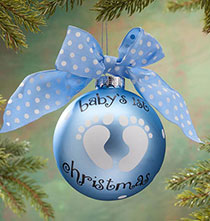 "Holiday Ornaments - Personalized ""Baby's 1st Christmas"" Glass Ball Ornament"