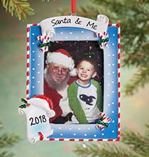 Personalized Santa & Me Frame Ornament   Plain