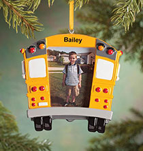 Personalized School Bus Frame Ornament