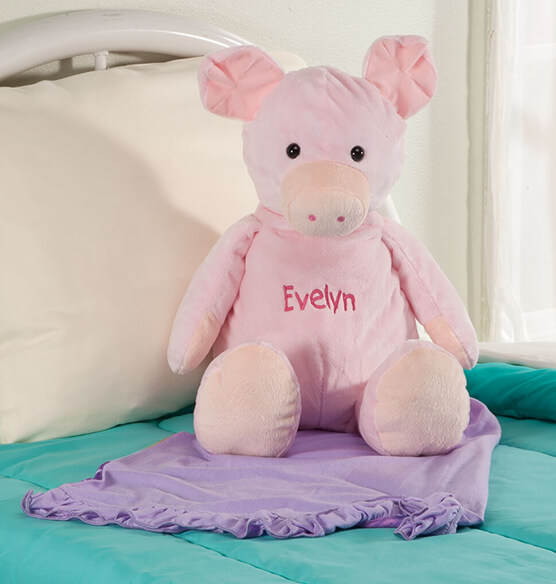 Personalized Stuffed Pig - View 1