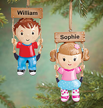 Holiday Décor - Personalized Child on Swing Ornament