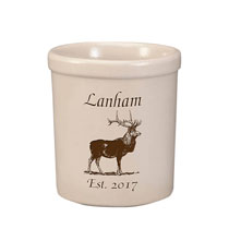 Personalized Elk Stoneware Crock 1 Quart Black  1 Line of Personalization