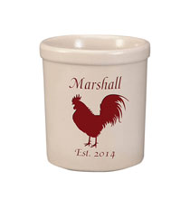 Personalized Tabletop - Personalized Rooster Stoneware Crock, 1 Qt.