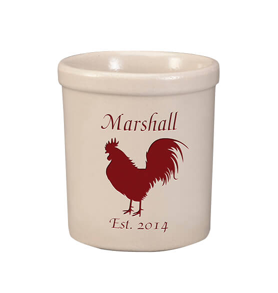 Personalized Rooster Stoneware Crock, 1 Qt. - View 1