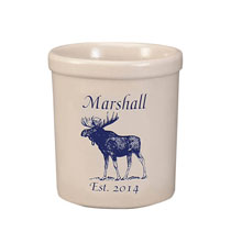 Gifts for the Hostess - Personalized Moose Stoneware Crock, 1 Qt.