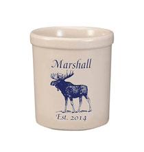Personalized Moose Stoneware Crock, 1 Qt.