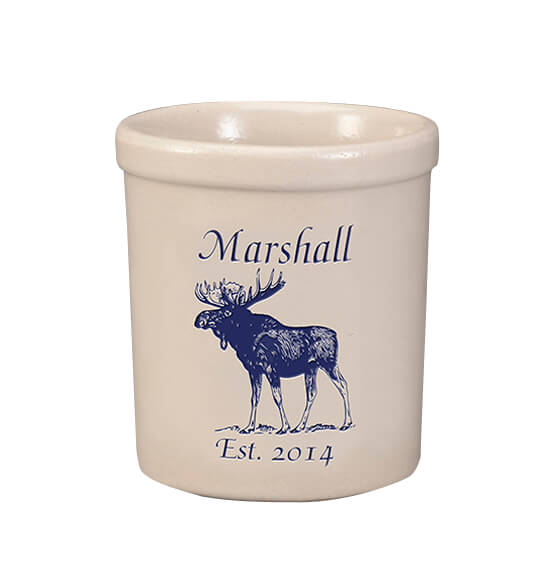 Personalized Moose Stoneware Crock, 1 Qt.