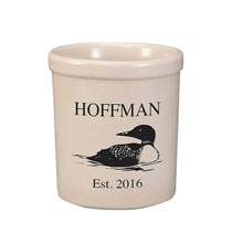 Personalized Loon Stoneware Crock, 1 Qt.