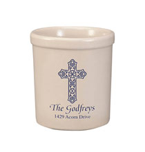 Personalized Celtic Cross Stoneware Crock, 1 Qt.