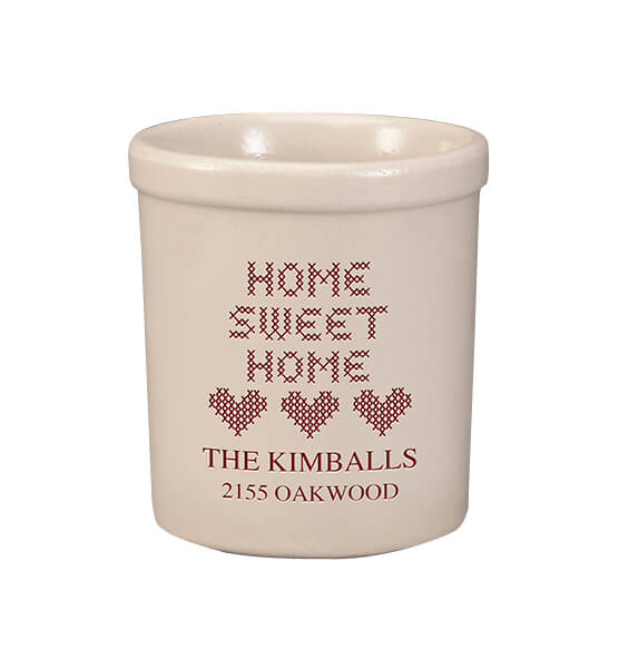 Personalized Home Sweet Home Stoneware Crock, 1 Qt. - View 1