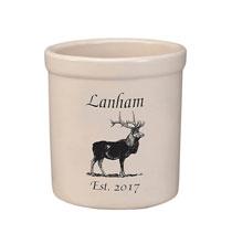 Personalized Elk Stoneware Crock, 2 Qt.