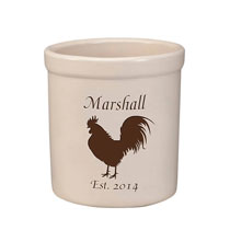 Personalized Tabletop - Personalized Rooster Stoneware Crock, 2 Qt.