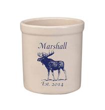 Personalized Moose Stoneware Crock, 2 Qt.