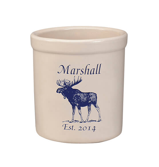Personalized Moose Stoneware Crock, 2 Qt.