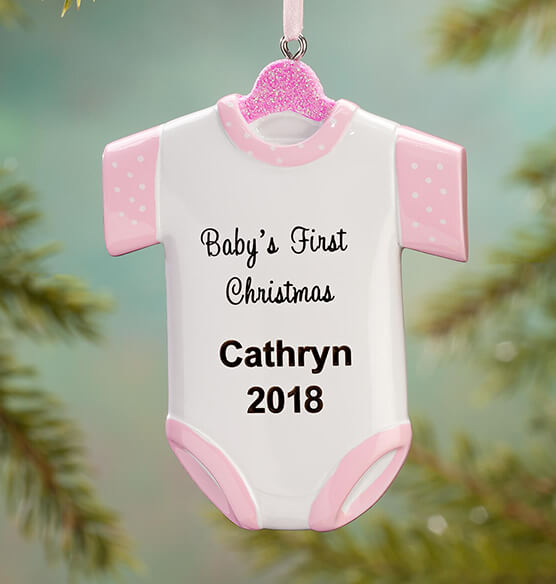 "Personalized ""Baby's First Christmas"" Onesie Ornament"