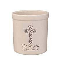 Personalized Celtic Cross Stoneware Crock 2 Quart Black  1 Line of Personalization