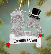 Personalized 25th Anniversary Ornament   Plain