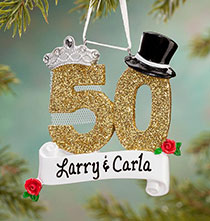 Personalized 50th Anniversary Ornament   Plain