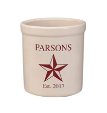 Decorative Accents - Personalized Barn Star Stoneware Crock, 2 Qt.