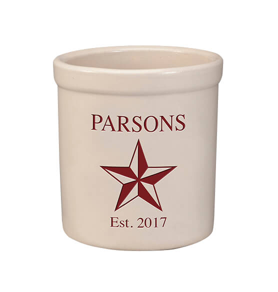 Personalized Barn Star Stoneware Crock, 2 Qt.