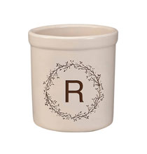 Decorative Accents - Personalized Monogram Wreath Stoneware Crock, 2 Qt.
