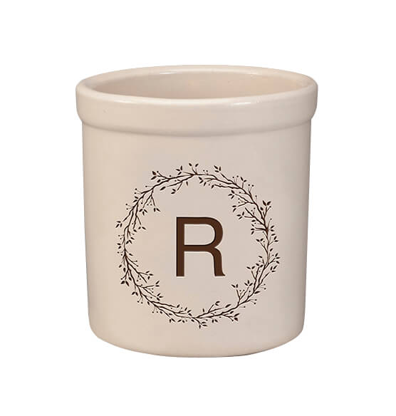 Personalized Monogram Wreath Stoneware Crock, 2 Qt.